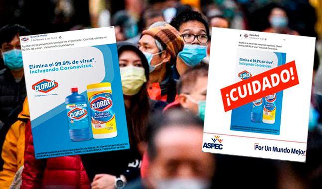 Aspec desmiente a Clorox Perú sobre producto que asegura eliminar el coronavirus
